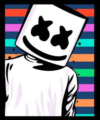 Принт Мужская толстовка Marshmello Colorful Portrait, Фото № 1 - FatLine