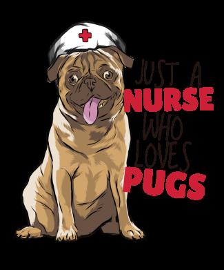 Принт Женская футболка Nurse loves pugs, Фото № 1 - FatLine