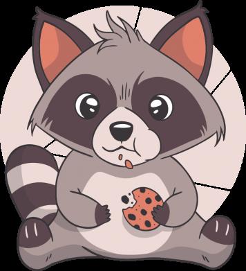 Принт Кружка 320ml Raccoon with cookies, Фото № 1 - FatLine