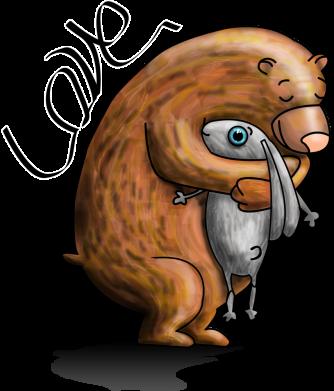 Принт Женская футболка Bear hugs a hare, Фото № 1 - FatLine