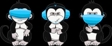 Принт Чоловіча футболка Monkeys in medical masks, Фото № 1 - FatLine