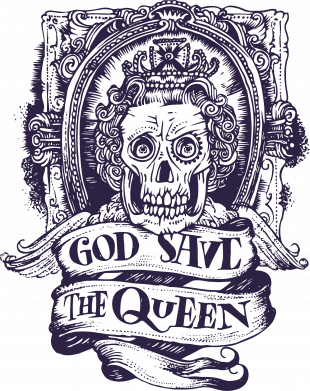 Принт Женская футболка God save the queen monochrome, Фото № 1 - FatLine
