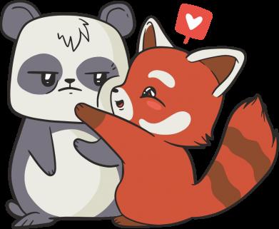 Принт Кружка 320ml Panda and fire panda, Фото № 1 - FatLine