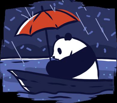Принт Женская футболка Panda and rain, Фото № 1 - FatLine