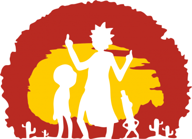 Принт Жіноча футболка Silhouette of Rick and Morty at Sunset, Фото № 1 - FatLine