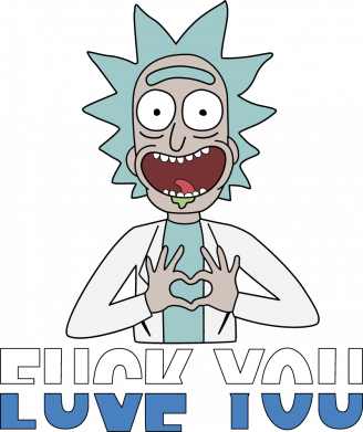 Принт Женская футболка Rick fuck you, Фото № 1 - FatLine