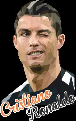 Принт Футболка з довгим рукавом Крістіано Роналдо, полігональний портрет, Фото № 1 - FatLine