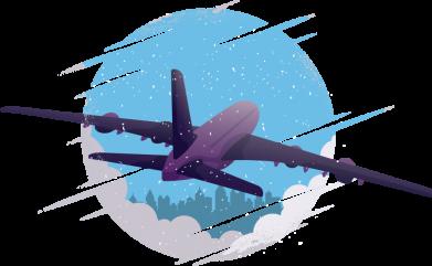 Принт Женская футболка Airplane and sky, Фото № 1 - FatLine