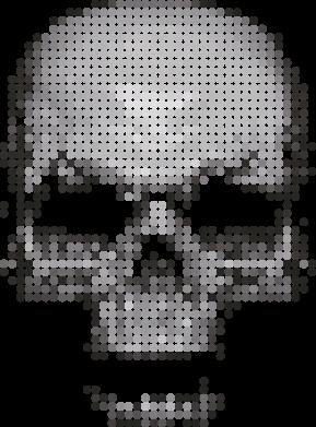 Принт Женская футболка с V-образным вырезом Череп из пикселей - FatLine