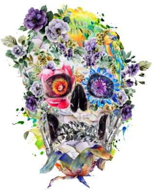 Принт Футболка Поло Flower Skull - FatLine
