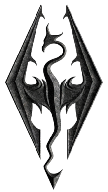 Принт Футболка с длинным рукавом Skyrim Logo 3D - FatLine