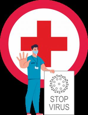 Принт Чоловіча футболка Stop virus and doctor, Фото № 1 - FatLine