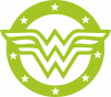 Wonder woman logo and stars