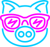 Pig in the glasses