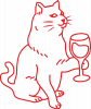 Cat with a glass of wine