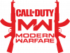 Call of debt MW logo and Kalashnikov