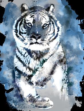 Принт Женская футболка Tiger watercolor, Фото № 1 - FatLine