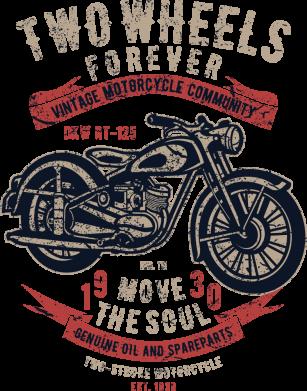 Принт Жіноча футболка Two Wheels Forever 1930, Фото № 1 - FatLine