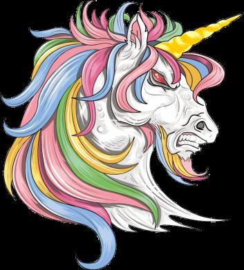 Принт Жіноча футболка Кінь з кольоровою гривою, Фото № 1 - FatLine