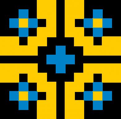 Принт Женская футболка Pixel pattern blue and yellow, Фото № 1 - FatLine