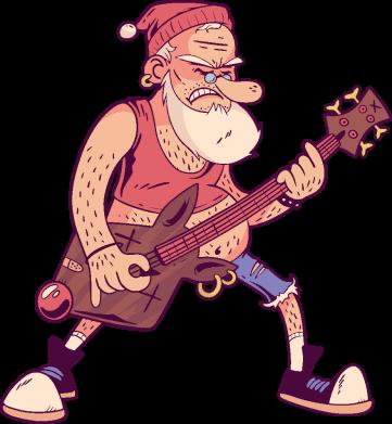 Принт Кружка 320ml Rock'n'roll Santa, Фото № 1 - FatLine