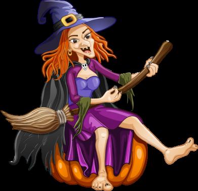 Принт Женская футболка с V-образным вырезом Ведьма верхом на метле - FatLine