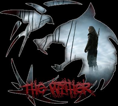 Принт Женская футболка Emblem wolf and text The Witcher, Фото № 1 - FatLine