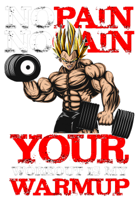 Принт Мужская майка No pain no gain. Your workout is my warmup - FatLine