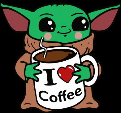 Принт Женская футболка Yoda and a mug with the inscription I love coffee, Фото № 1 - FatLine