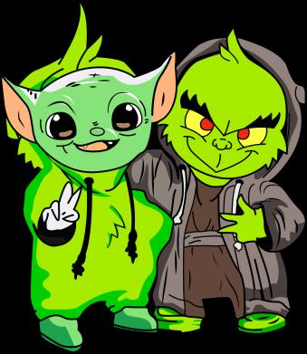 Принт Женская футболка Yoda and Grinch, Фото № 1 - FatLine