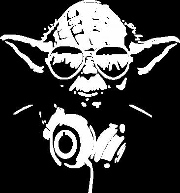 Принт Мужская толстовка на молнии Yoda в наушниках - FatLine
