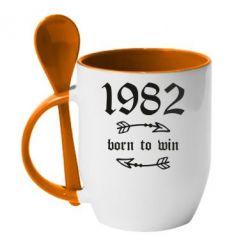 Купить Кружка с керамической ложкой 1982 Born to win, FatLine