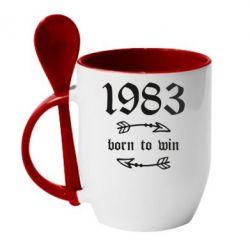Кружка з керамічною ложкою 1983 Born to win