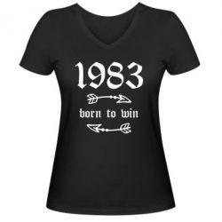 Жіноча футболка з V-подібним вирізом 1983 Born to win