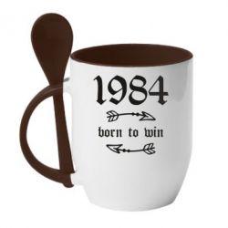 Кружка з керамічною ложкою 1984 Born to win