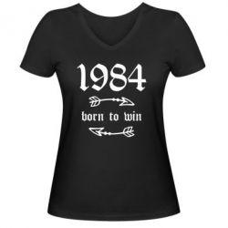 Жіноча футболка з V-подібним вирізом 1984 Born to win