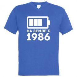 Мужская футболка  с V-образным вырезом 1986 - FatLine