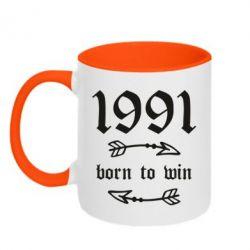 Кружка двоколірна 320ml 1991 Born to win
