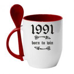 Кружка з керамічною ложкою 1991 Born to win