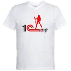 Мужская футболка  с V-образным вырезом 1Cupergirl - FatLine