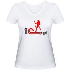 Женская футболка с V-образным вырезом 1Cupergirl - FatLine