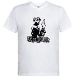 Мужская футболка  с V-образным вырезом 2pac Thug Life