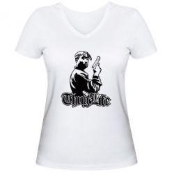 Жіноча футболка з V-подібним вирізом 2pac Thug Life