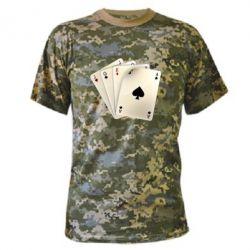Камуфляжная футболка 4 cards - FatLine