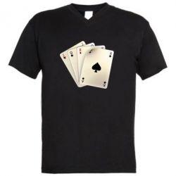 Мужская футболка  с V-образным вырезом 4 cards - FatLine