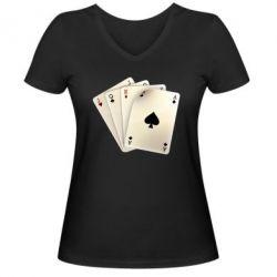 Женская футболка с V-образным вырезом 4 cards - FatLine