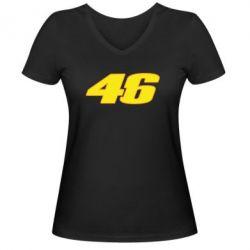 Женская футболка с V-образным вырезом 46 Valentino Rossi - FatLine