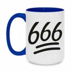 Кружка двухцветная 420ml 666