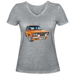 Женская футболка с V-образным вырезом A car