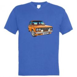 Мужская футболка  с V-образным вырезом A car